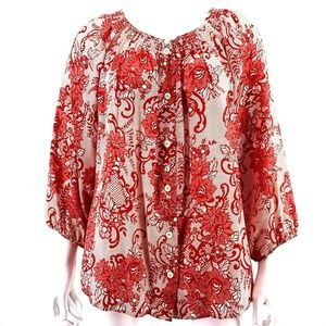 Sundance  Red Floral Print 100% Silk Shirt